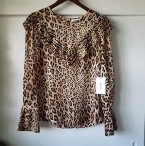 Frame leopard print blouse, ruffle top sheer Small